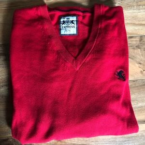 Express Men's Cotton Red V-Neck Sweater